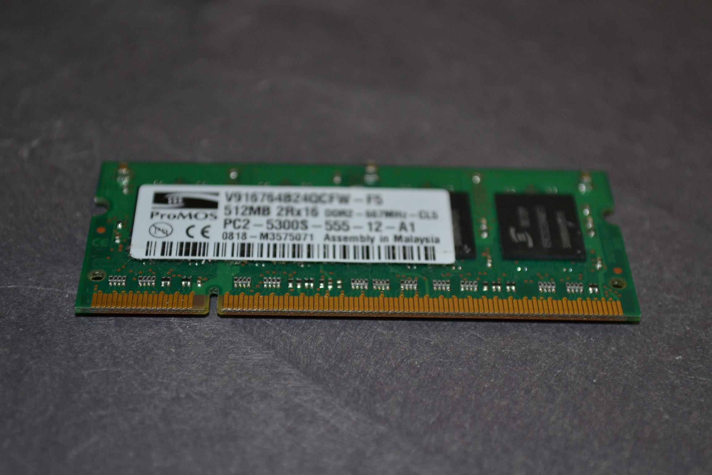 512MB DDR2 667MHZ PC2-5300S V916764B24QBFWF5